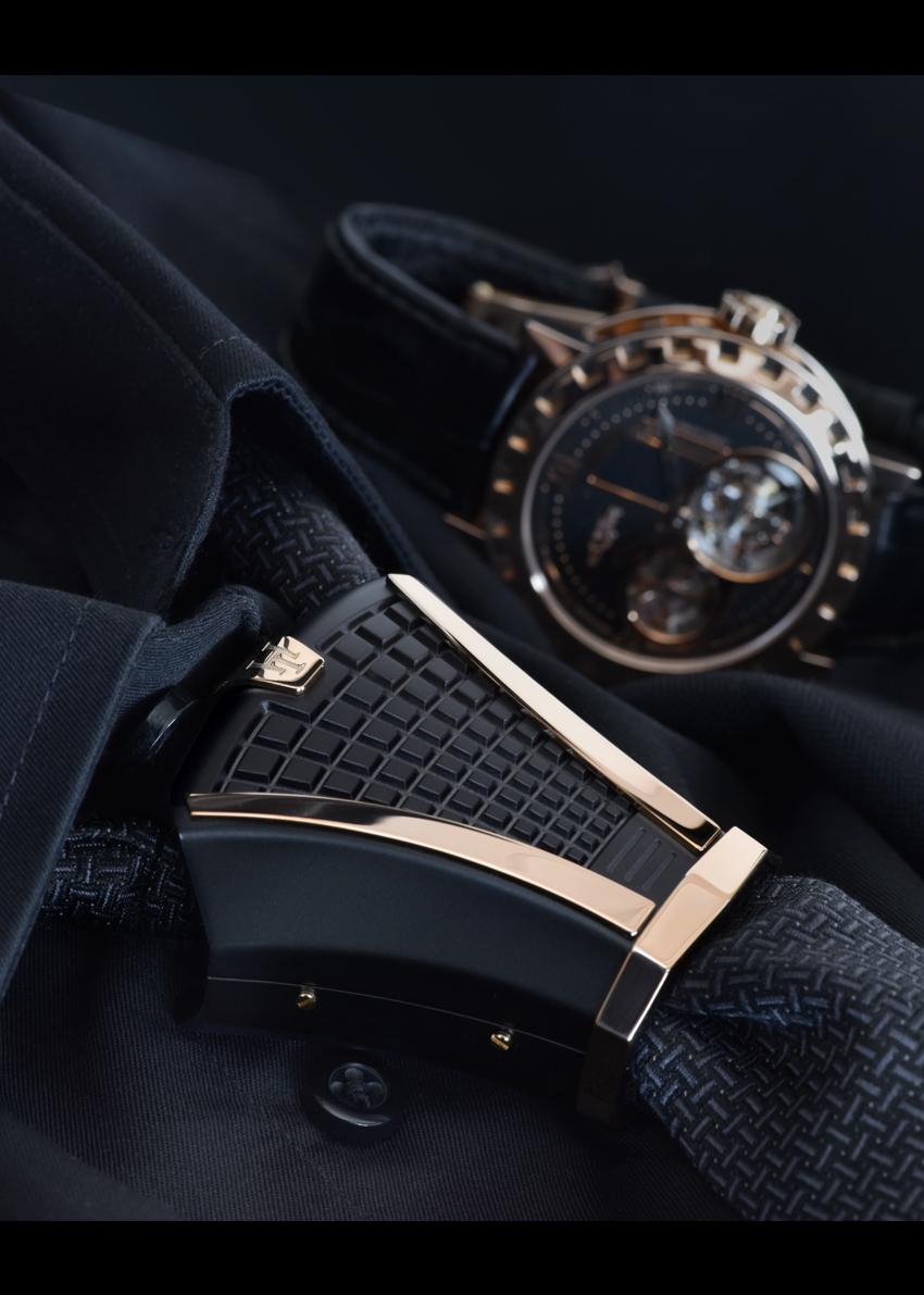 Black Slate Patter : Black slate titanium n rose gold plated patterns