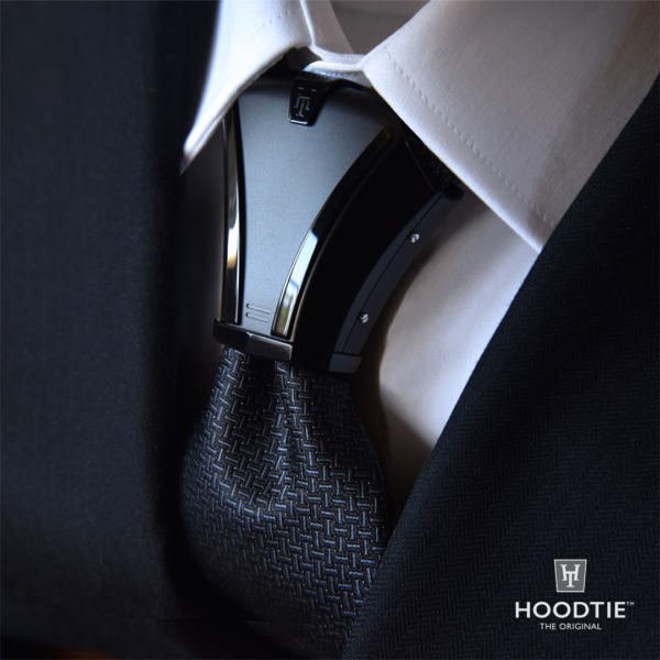 Hoodtie Haston II - noeud de cravate en titane noir, finitions noires