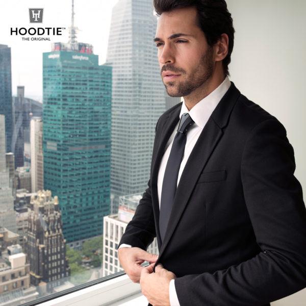Hoodtie - costume noir classique / bijou de cravate titane noir