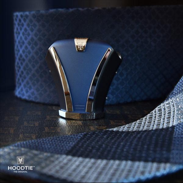 Luxueux couvre noeud de cravate en titane bleu et anthracite / finition polie