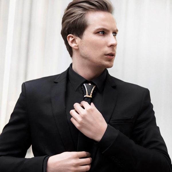 Costume et chemise noir - Hoodtie Haston Niveau 3 - Titane noir et Or Rose